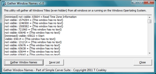 Gather Window Names - Simple Carver Suite - Forensic Software, Data