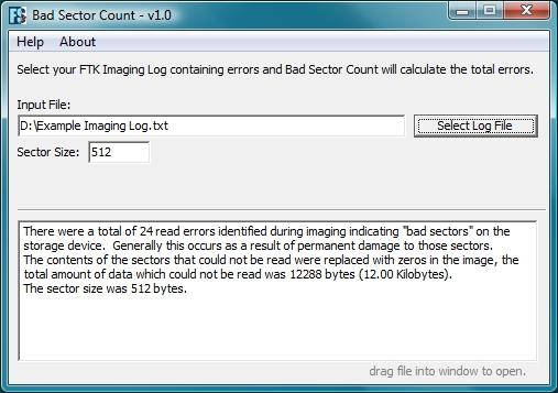 FTK Imager Log Read Errors